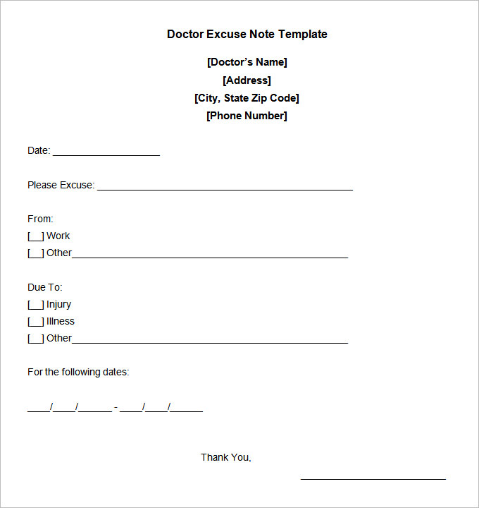 Fake Doctors Note Template  Note Template