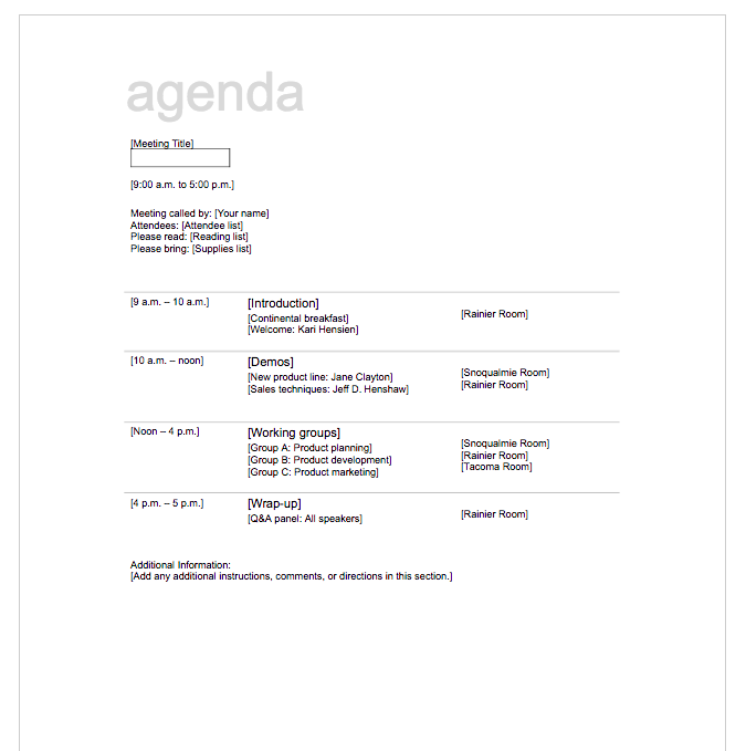 Meeting Agenda Format  Agenda Template Meeting