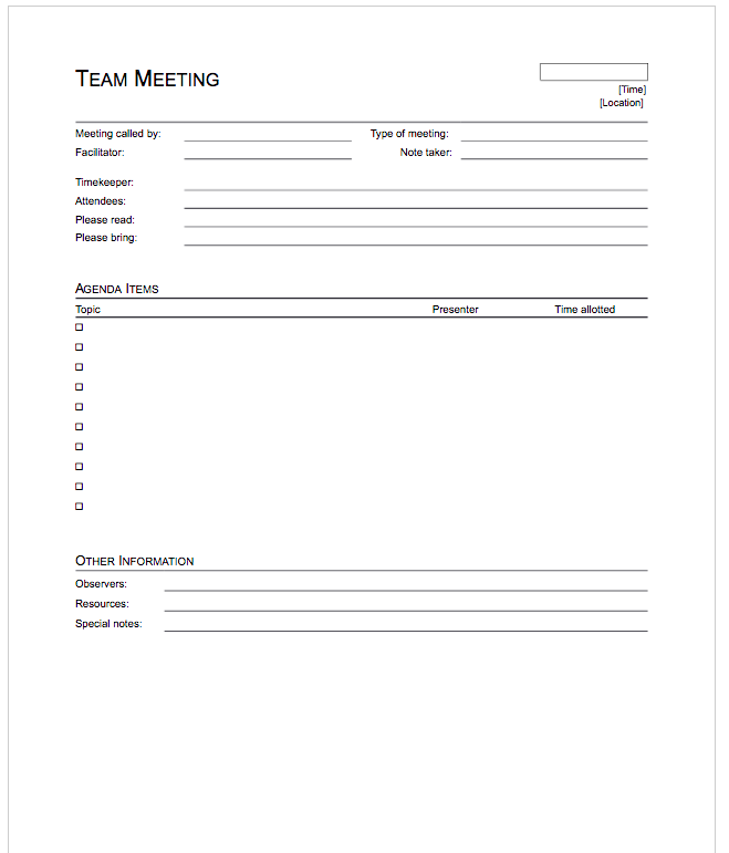5 Free Meeting Agenda Template Top Form Templates – Free Meeting Agenda Template
