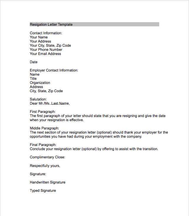 Resignation Letter Sample  Name Address And Phone Number Template