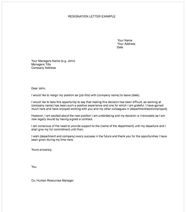 templates of resignation letters