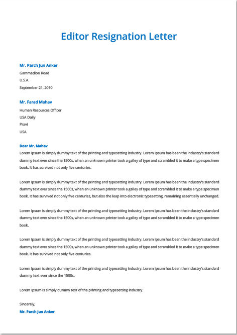 Resignation Letter Template in all format,