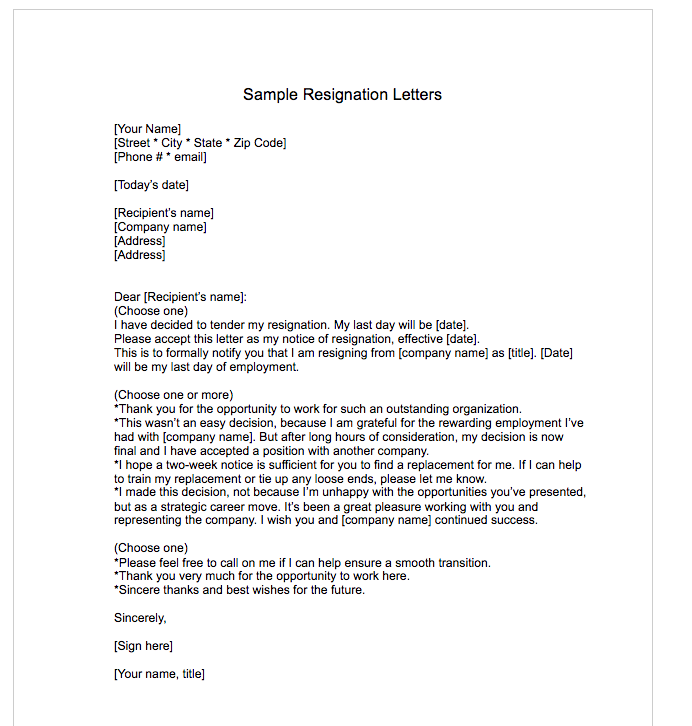 Sample Resignation Letter  Free Sample Resignation Letter Template
