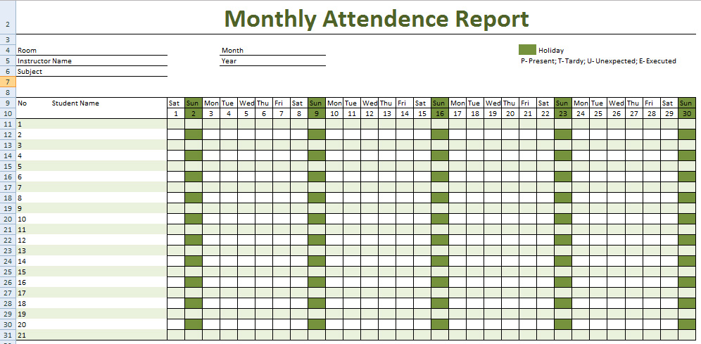 work attendance sheet - City.espora.co