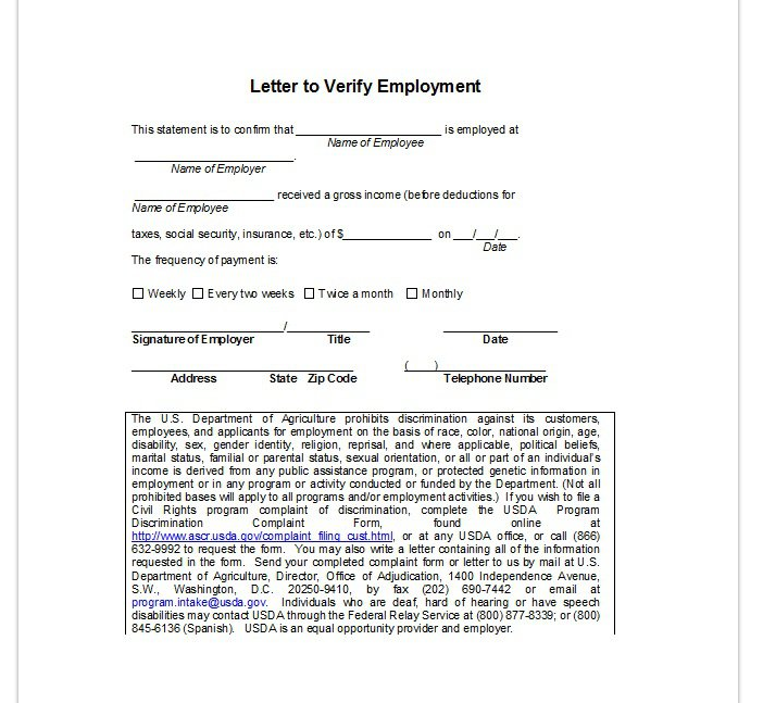 letter of employee verification