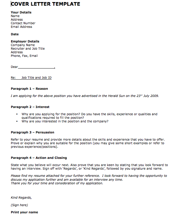 example of letter of application for employment