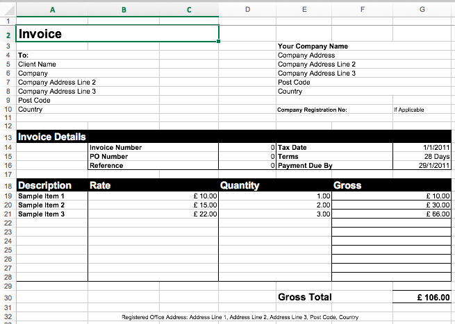 Invoice Template Excel Download, Free Invoice Template Excel  Invoice Template On Excel