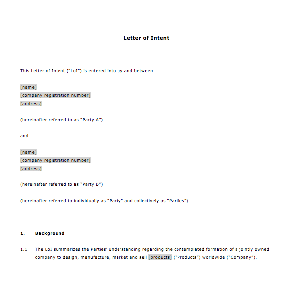 letter of intent for business top form templates free templates