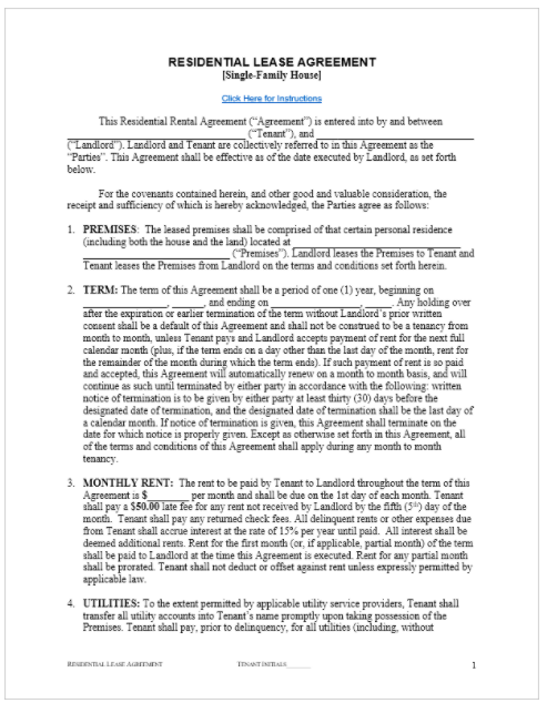 Rental Agreement Template Free Basic Word Document