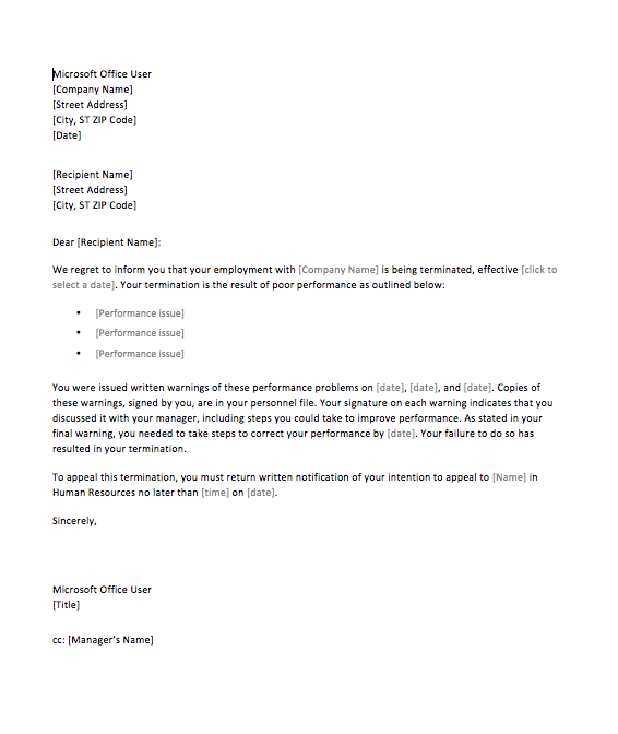 sample termination letter for poor performance top form