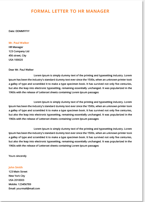 Charming Formal Letters Examples For Students Pdf, Formal Letter Formats Samples
