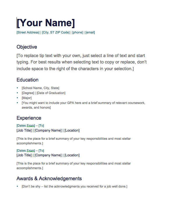 Resume Templates Free Download Word  Download Word Resume Template