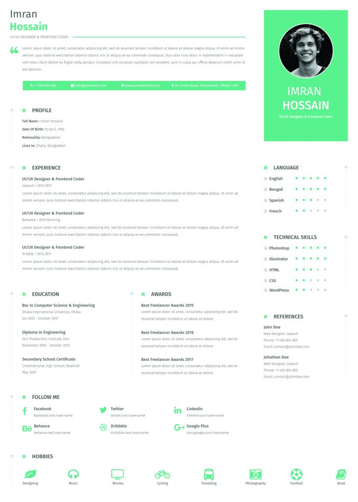 Attractive Resume Templates Free Download, Free Resume Templates Download Word