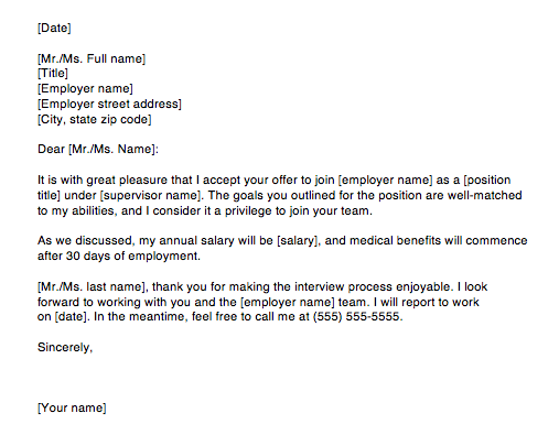 Accepting A Job Offer Letter Via Email Sample