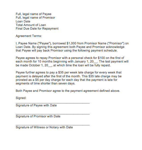 letter of agreement for payment sample payment agreement letter