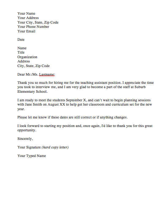 Thank You Letter For Job Offer Top Form Templates Free Templates