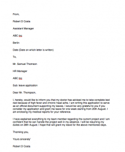 Leave letter format for office, One day leave letter format for office