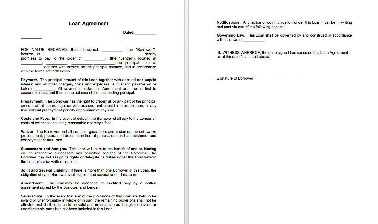 Sample of loan agreement between two parties Top Form Templates