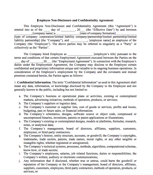 Non Disclosure Agreement For Employees Top Form Templates Free