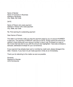 Warning letter for outstanding payment, Warning letter for outstanding payment