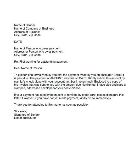 Warning Letter For Outstanding Payment Top Form