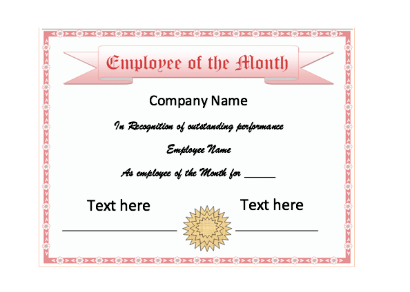 Employee Of The Month Certificate Template Employee Of The Month