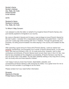 Good Moral Character Letter For Immigration Sample, Sample Letter Of Recommendation For Immigration Residency