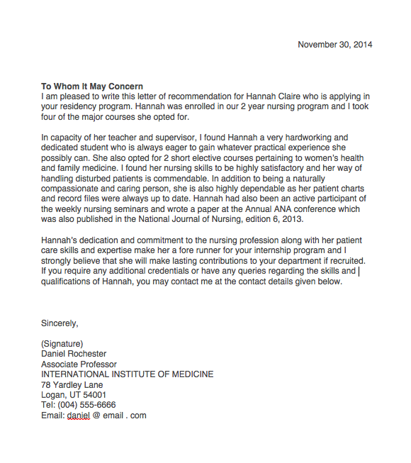 nursing student letter of recommendation sample letter of recommendation for nursing graduate school