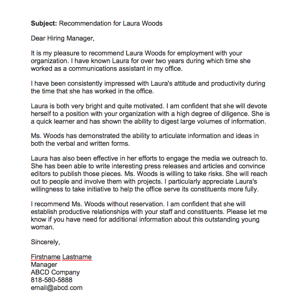 Letter Of Job Recommendation Template