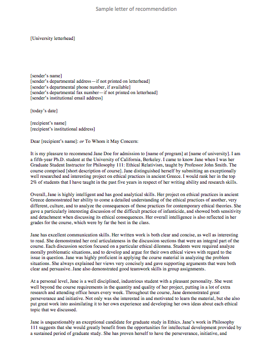Sample of recommendation letter for university admission for Letter of recommendation template for college admission