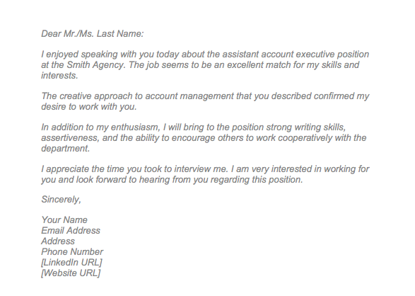 Sample Email Thank You Letter After Interview from topformtemplates.com