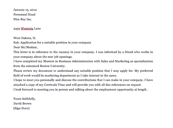 simple application letter sample for any vacant position top form