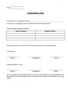 Authorization Letter To Collect Passport On My Behalf, US visa passport collection authorization letter