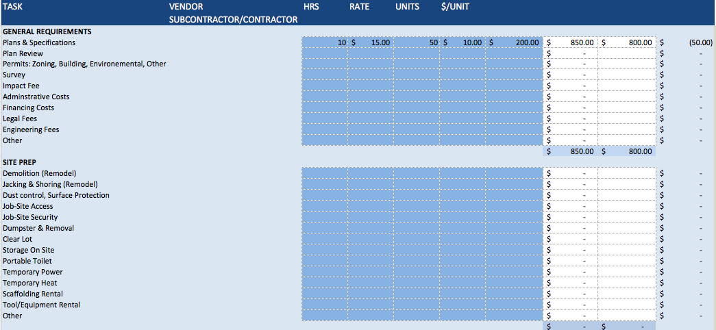 Building Construction Estimate Spreadsheet Excel Free Cost Template