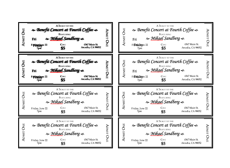 Event Ticket Template Free download Word, Editable ticket template free