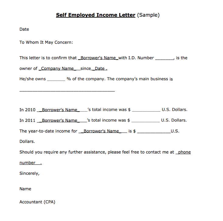 Income Verification Letter For Self Employed Top Form Templates
