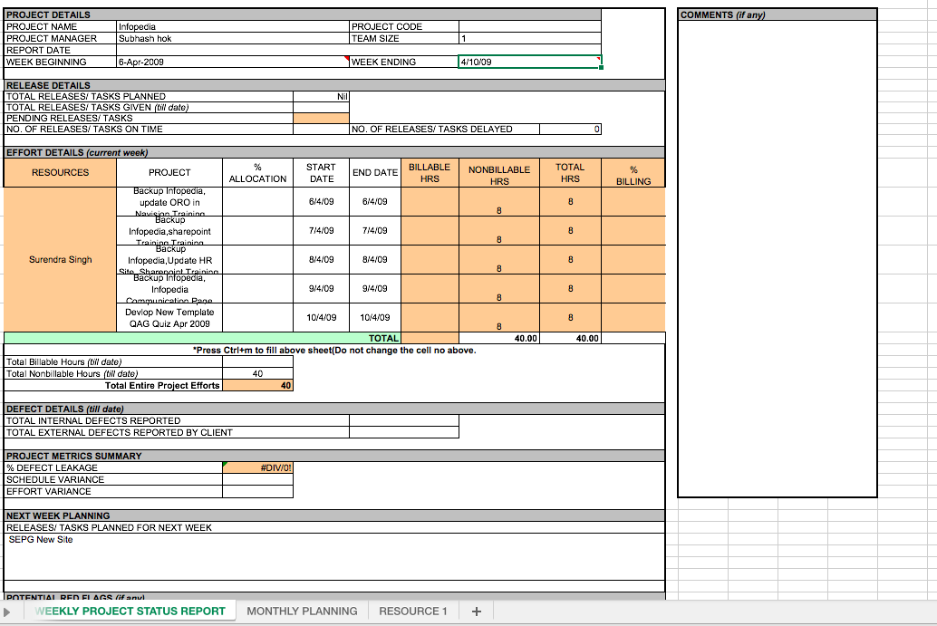 weekly project status report template excel top form