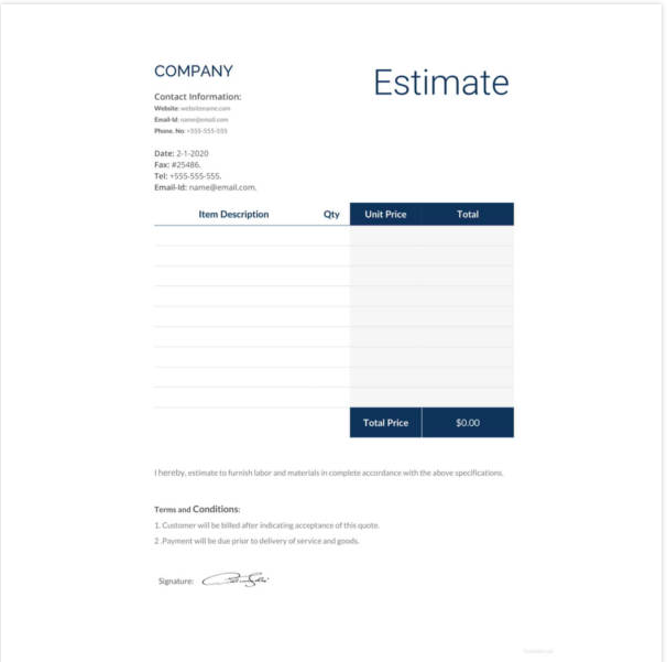 Estimate Format In Excel Free Download, Free construction estimate template pdf