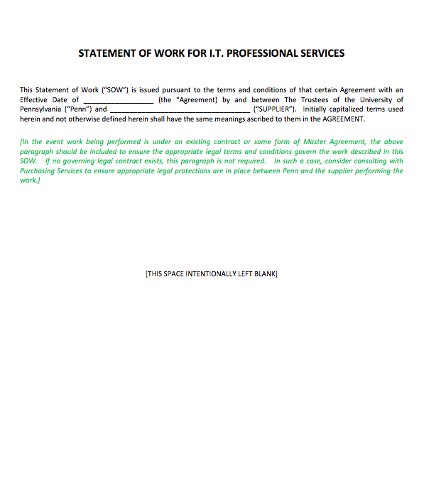 Statement Of Work Template For Professional Services, statement of work example software development