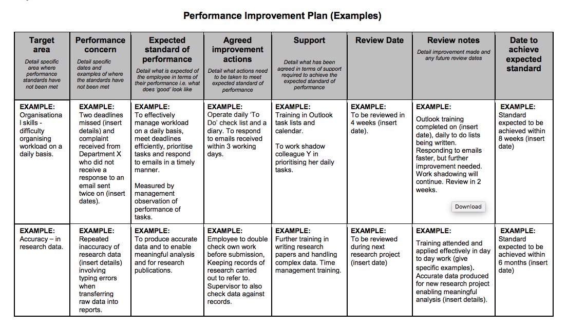 Improvement Plan Template | Examples Of Performance Improvement Plans For Employees Top Form