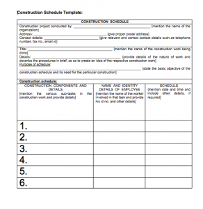 Residential Construction Schedule Template Excel, construction schedule using excel template free download