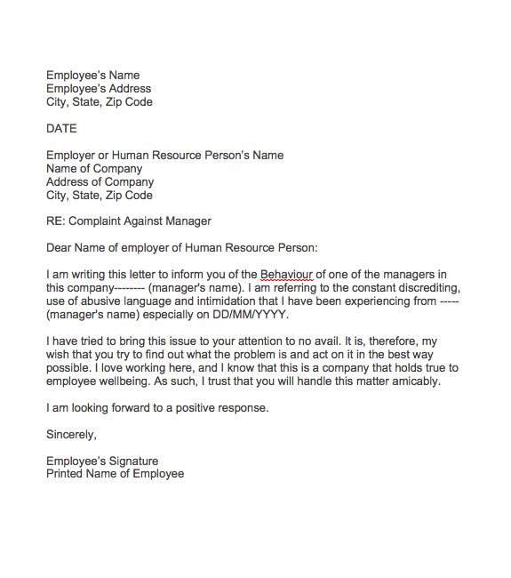 Complaint Letter About Manager Behaviour, sample of complaint letter against a person with unprofessional behaviour