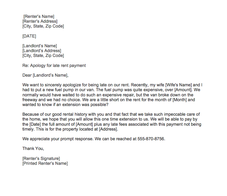 sample apology letter to landlord for late rent payment sample
