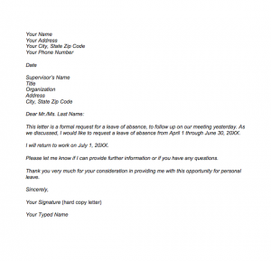 Letter Of Permission To Be Absent From Work, Sample letter of leave of absence from work