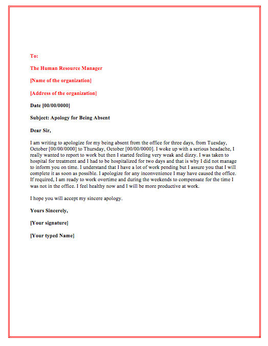 Absent Letter From Work from topformtemplates.com