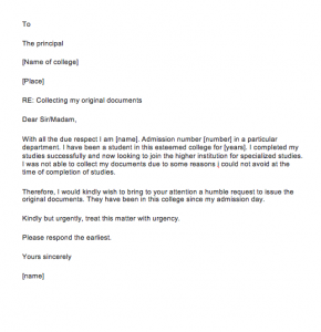 Request letter for the certificate from the school