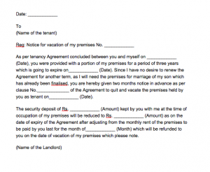Sample Letter From Landlord To Tenant Notice To Vacate, Sample Letter From Landlord To Tenant To Vacate