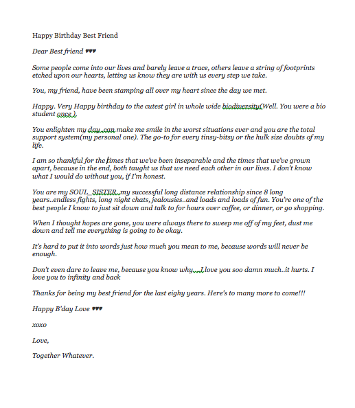 Happy Birthday To My Best Friend Letter | Top Form Templates
