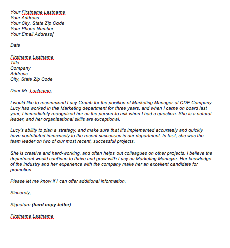Recommendation For Promotion Letter For Employee
