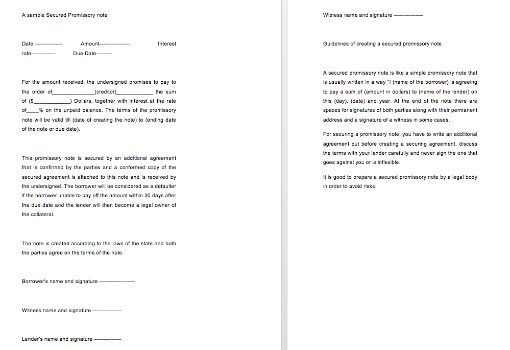 Secured promissory note template, simple promissory note no interest